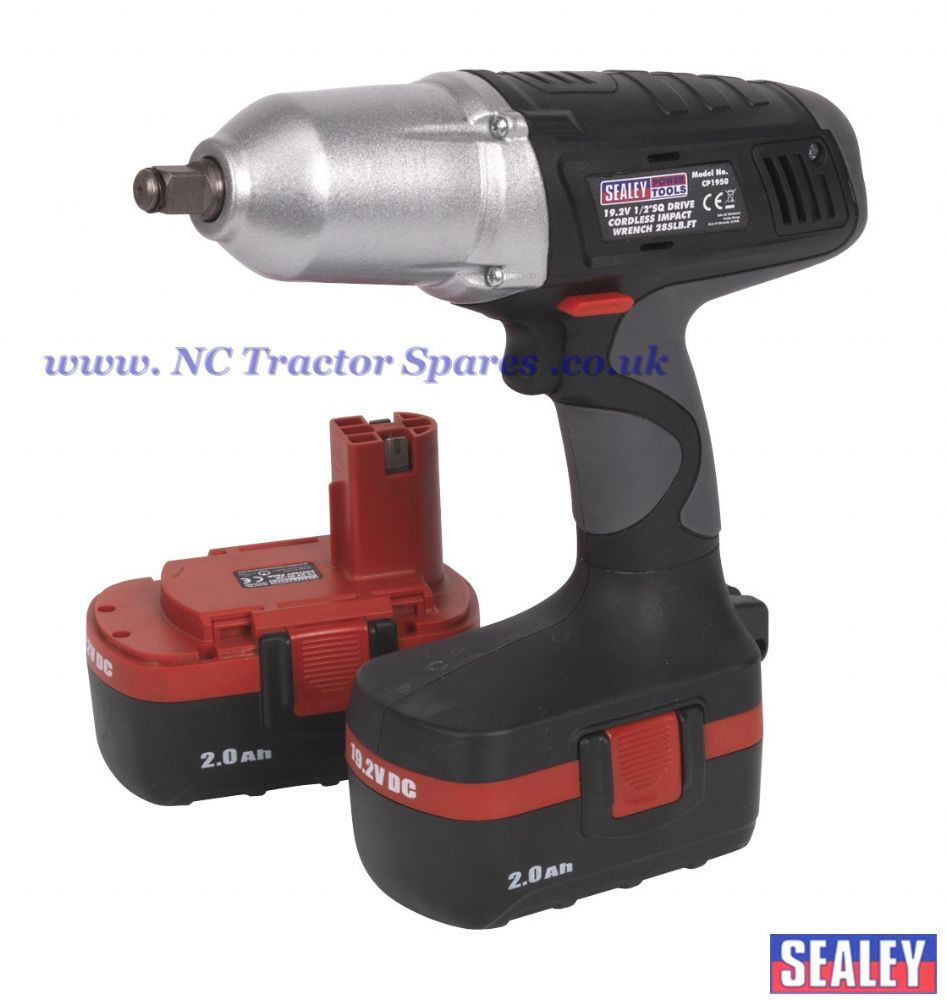 "Cordless Impact Wrench 19.2V 1/2""Sq Drive 285lb.ft with 2 Batteries"